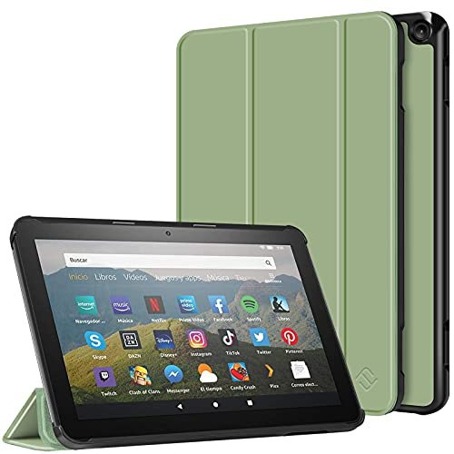 Fintie Slim Case for All-New Kindle Fire HD 8 Tablet and Fire HD 8 Plus Tablet (10th Generation, 2020 Release) - Ultra Lightweight Slim Shell Stand Cover with Auto Wake/Sleep, Sage Green