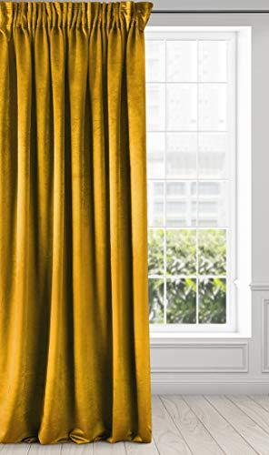 Eurofirany Cortina Aterciopelada de Terciopelo – Cinta Fruncida Suave Elegante y Moderna para Dormitorio o salón, Amarillo Mostaza, 140x270 cm