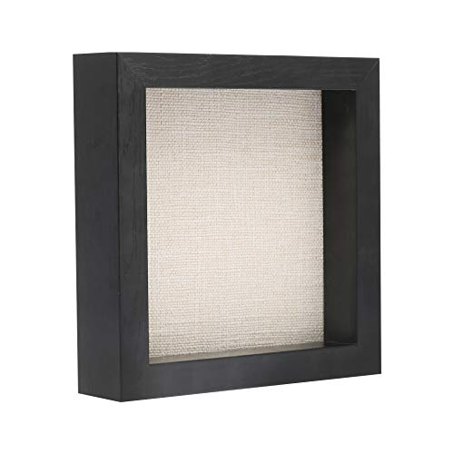 8X8 Shadow Box Wash White | Deep Shadow Box Frame | Wood Shadow Box Display Case for Memory