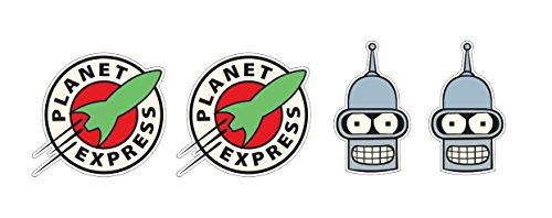 4 Aufkleber Planet Express / Bender Roboterkopf Roboterhead Rakete Nasa Space Ship Apollo Animation Aufkleber Sticker / Plus Schlüsselringanhänger Kokosnuss-Schale / Auto Motorrad Laptop Notebook