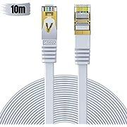 Veetop 10m Cable Ethernet Rj45 Plat Cat 7 Câble De Réseau 10 Gigabit/s Blanc