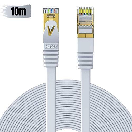 Veetop 10m Lan Kabel Cat 7 Netzwerkkabel Flach für 10 Gigabit Ethernet mit vergoldetem RJ45. Weiß