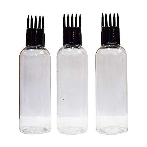 Hunky Dory 100ml Empty Hair Root Oil,Shampoo Comb Refillable Transparent Bottle. (Pack of 3)