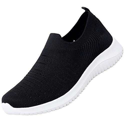MAOGO Damen Sneaker Atmungsaktiv Laufschuhe Slip On Schuhe Freizeitschuhe Outdoor Sportschuhe (Schwarz, Numeric_42)