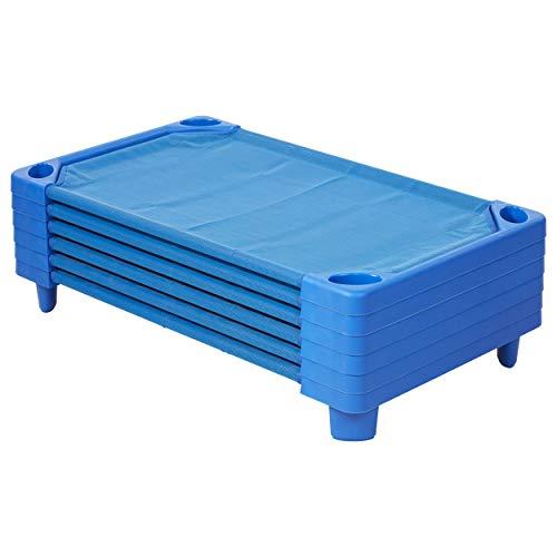 ECR4Kids Streamline Toddler Naptime Cot, Stackable Daycare Sleeping Cot for Kids, 40' L x 23' W, Assembled, Blue (set of 6)