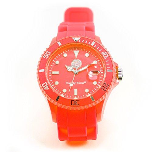 FC Bayern München - Orologio da polso al quarzo, motivo: Madison New York Candy Time, con adesivo incluso, colore: Arancione