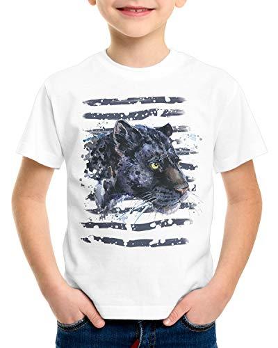 style3 Pantera Negra Camiseta para Niños T-Shirt Zoo Leones de montaña Jungla, Talla:152
