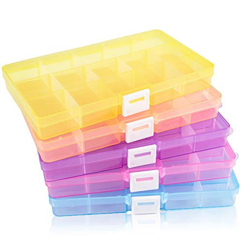 SGHUO Plastic Jewelry Organizer Box, 5 Pack 15 Little Grids Plastic Storage Boxes with Removable Dividers for Beads, Art and Crafts, 5 Colors, 6.9' x 3.9' x 0.9'