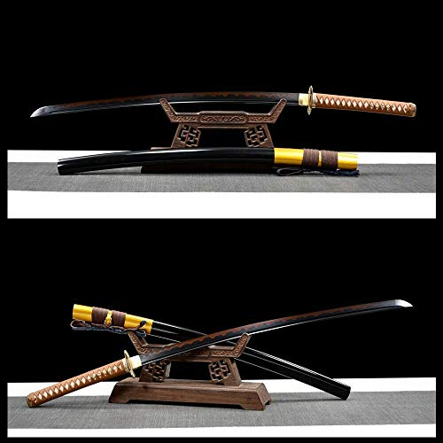 GLW Kanata Japanese Samurai Sword Katana Black Damascus Steel Clay Tempered Razor Sharp