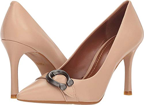 COACH Waverly 85mm Pump with Signature Buckle Beechwood Leather 8.5