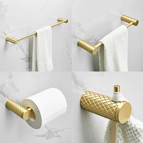 TIMACO - Set di accessori da bagno, 4 pezzi, montaggio a parete, portasciugamani, porta carta igienica, gancio appendiabiti per toilette, set di accessori da bagno in ottone spazzolato dorato