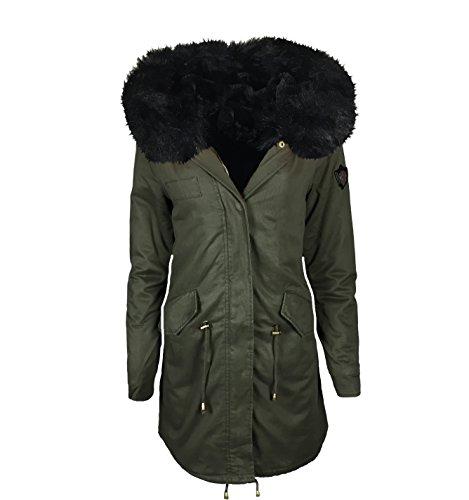 ALZORA Parka Damen Winter Jacke XXL KUNSTFELL IN PINK ROSA SCHWARZ Kapuze Mantel Fashion WINTERMANTEL Jacket Blogger MIT REIßVERSCHLUSS NEU GEFÜTTERT XS-XL, DE22 (S)