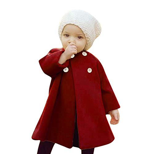 0-5T Autumn Winter Kids Baby Girls Solid Outerwear Cloak Cape Button Jacket Warm Fashion Woolen Coat Trench Clothes (Wine, 12-18 Months)