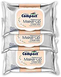 Ultra Compact Makeup Remover Wipes - No Harsh Chemicals Eye Makeup Remover - Dermatologically & Microbiologically Tested Face Wipes - Ghost Orchid Or Fragrance Makeup Wipes - 3 Packs of 25 Wipes