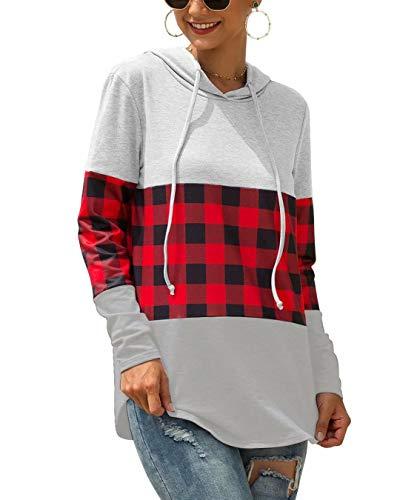 Hiistandd Damen Kapuzenpullover Plaid Farbblock Langarm Sweatshirt …