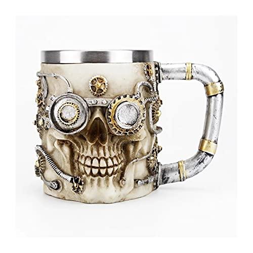 Cerveza de la cerveza del cráneo 3D Vidrio de copa de vino por estilo mecánico Gear Punk Gear Retro Metal & Resinmugs Copa, para cumpleaños de Navidad Regalos de Halloween
