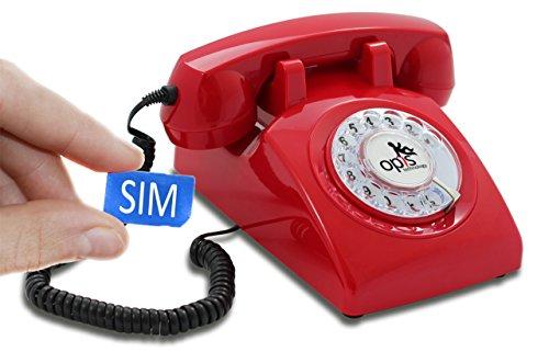 Opis 60s Mobile - Retro Tischhandy in Form eines sechziger Jahre Telefons mit Wählscheibe und Metallklingel (rot)