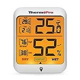 ThermoPro TP53 Thermomètre hygromètre intérieur, mesure d'humidité et de température, environnement, numérique, thermomètre, professionnel pour maison avec touche rétro-éclairage