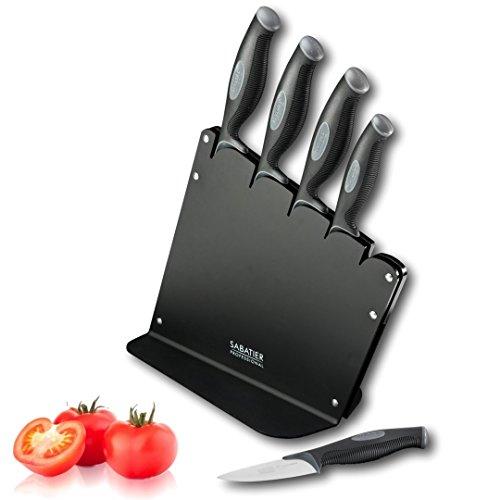 Jeu de 5 couteaux Sabatier Professional L'Expertise à manche penchée et douce au toucher, faite en acrylique