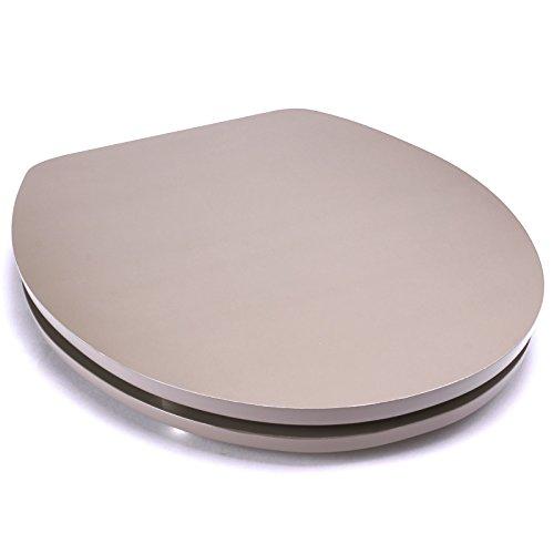 MSV Premium WC Sitz Toilettendeckel Klodeckel Acryl Scharniere aus Edelstahl - hochwertige und stabile Qualität - Graubraun/Taupe