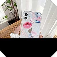 Liaog かわいいレトロなフラワーフォンケースFor iPhone12 mini 11 Pro Max X XS Max XR SE 2020 7 8PlusソフトカバークリアローズフローラルケースCapas-YY284-2-For-For iPhoneSE 2020