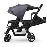 Doppel-Kinderwagen - Zusammenklappbarer Tandem-Kinderwagen Für Kleinkinder, Mädchen Und Jungen (Color : Gray)