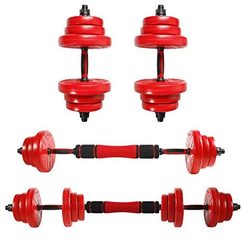 CCLIFE 2in1 Set Manubri Regolabili Bilanciere Set con Barra di Collegamento 20-40KG Allenamento di Forza Pesistica, Colore:con connettore 2x10 kg,Rosso