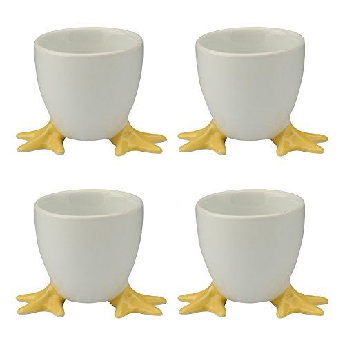 BIA 4-Piece Chicken Feet Egg Cups, 5 x 5 x 5 cm, Yellow, 4 Set