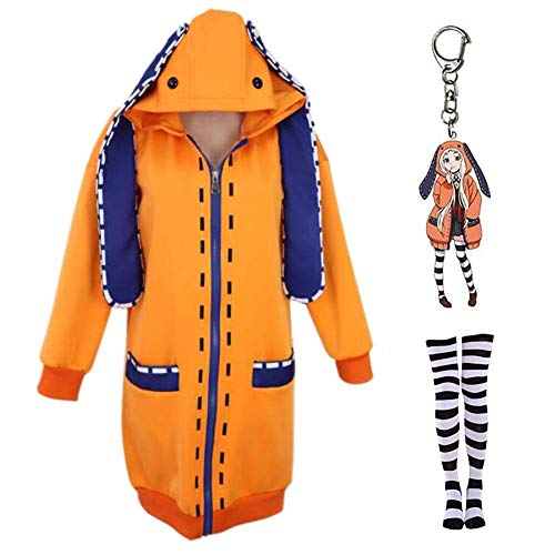 ZSTO Yomozuki Runa Hoodie with Keychain,Anime Kakegurui Compulsive Gambler Costume Jacket Coat + Socks for Halloween (M) Orange