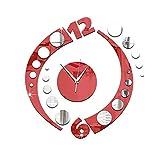 WEI-LUONG decorar Coincidencia creativa de acrílico del reloj de pared doble del espejo del color de Bell Silencio Arco de decoración de interior vivo Dormitorio Oficina (Color: -, Tamaño: -) creativo