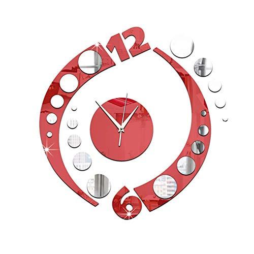 YEESEU Coincidencia Creativa de acrílico del Reloj de Pared Doble del Espejo del Color de Bell Silencio Arco de decoración de Interior Vivo Dormitorio Oficina (Color: -, Tamaño: -)
