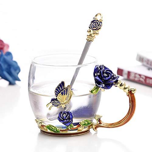 ERLINGO Vasos de cristal transparente hechos a mano con diseño de mariposa, regalo personalizado para mujeres, esposa, madre, niña, profesora, amigas, cumpleaños, día de San Valentín (rosa azul)