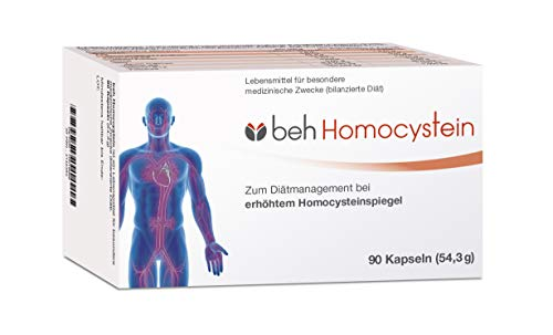 beh Homocystein - bei erhöhtem Homocysteinspiegel (bilanzierte Diät) - hochdosiert Vitamin B6 50 mg, B12 1000 μg und B9 1000 μg - 90 Kapseln im 3-Monatsvorrat