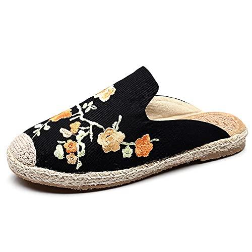 QIMITE Pantofole - Stile Cinese Fiori di Prugna Ricamati Pantofole Baotou Donna Viaggi Scarpe da Spiaggia Canapa Corda Paglia Pescatore Scarpe Muller Scarpe, Nero,37
