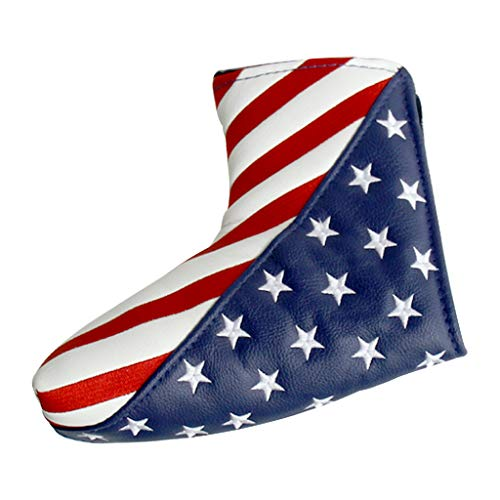 Toygogo Golf Putter Cover Magnetic USA Flag Blade Putter Headcover Waterproof Durable