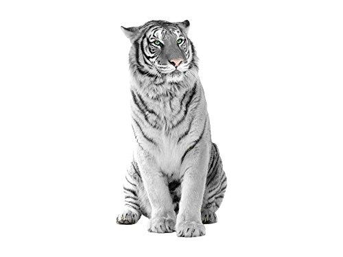 GRAZDesign Wandtattoo Tiger Schwarz Weiß, Wandaufkleber Tigerkopf, Raubkatze Asien / 78x40cm