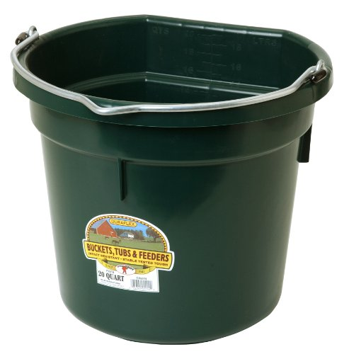 Miller Manufacturing P20FBGREEN Flat Back Bucket for Dogs and Horses, 20-Quart, Green