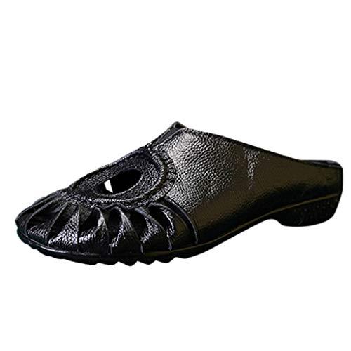 YWLINK Zapatos Mujer Comodos Baotou Zapatos Casuales Huecos Sandalias Y Zapatillas Moda De Fondo Plano Zapatos Hechos A Mano De Viento Nacional Verano Regalo del DíA De Miembro Fiesta(Negro,36EU)