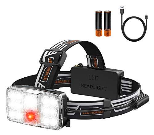 Cocoda Linterna Frontal LED Recargable, 11 Modes Linterna Cabeza con Luz de SOS Seguridad, 1000 Lúmenes Impermeable IPX6 Luz Cabeza con Ajustable Ángulo & Correa para Casco Pesca Cámping Caza