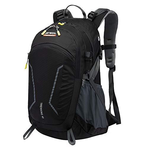 WUOOYOQ 40L Unisex Hiking/Camping Backpack, Outdoor Lightweight Shoulders Bag Nylon Waterproof Rucksack Portable Tourism Knapsack (Black, One Size)