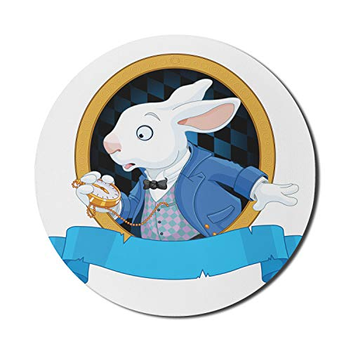 Ambesonne Alice in Wonderland Mouse Pad for Computers, Rabbit Pocket Watch Design Alice Fantasy World, Round Non-Slip Thick Rubber Modern Gaming Mousepad, 8' Round, Blue White Earth Yellow