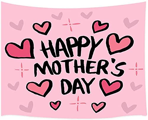 TEDDRA Tapiz para colgar en la pared del día de la madre con forma de corazón rosa para regalo de mamá, decoración de pared para dormitorio, sala de estar, 200 x 150 cm
