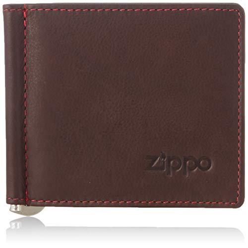 Zippo Herren Zweifachgefaltete Geldscheinklammer Brieftasche Lederwaren, Braun (Braun), 1x9x10.5 cm