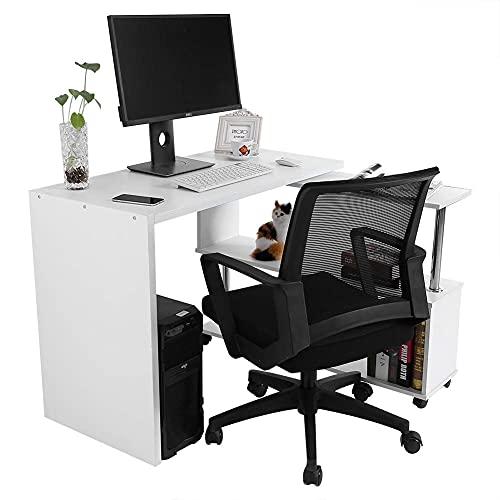 CjnJX-Vases Escritorios de computadora en Forma de L giratorios de 360 Grados Escritorio de Oficina de Esquina Ajustable con estantes para Libros, para Uso en el hogar y la Oficina(Blanco)