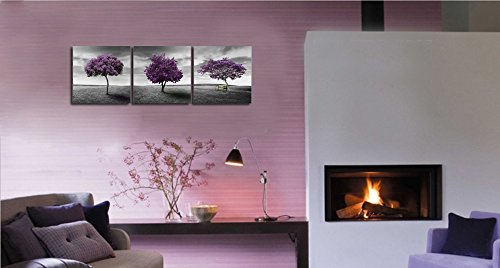 """Ardemy Canvas Wall Art Tree of Life Deep Purple and Gray Lawn 16""""x16"""" 3 Panels, Landscape Pictures Prints on Canvas Framed Painting Gallery Wrapped for Bedroom Bathroom Spa Corridor Hallway Home Decor"""