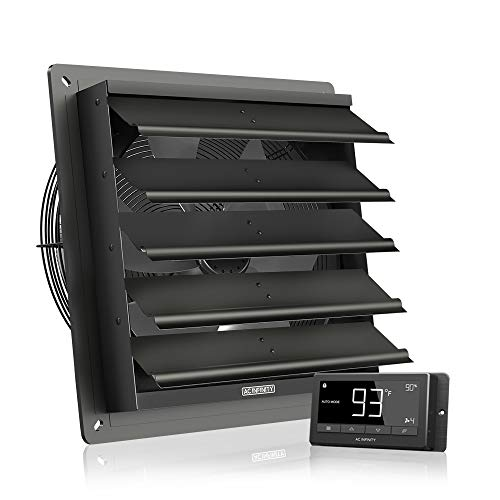 AC Infinity AIRLIFT T16, Shutter Exhaust Fan 16-inch with Temperature...