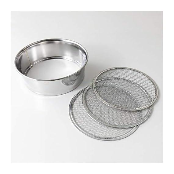 Hanafubuki wazakura 3pcs soil sieve set 8-1/4inch(210mm), made in japan, 3 sieve mesh filter sizes, japanese bonsai… 2 size: φ8. 26 x h 2. 55 in (φ210mm x 65mm)   sieve mesh sizes: 0. 04 in (1mm) 0. 11 in (3mm) 0. 19 in (5mm)   weight: 8. 6oz (245g)   material: frame - stainless steel, sieve mesh - iron made in japan