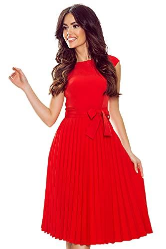 Numoco Plisseekleid mit kurzen Ärmeln und Gürtel, hinten mit einem verdeckten Reißverschluss (Rot, Numeric_36)