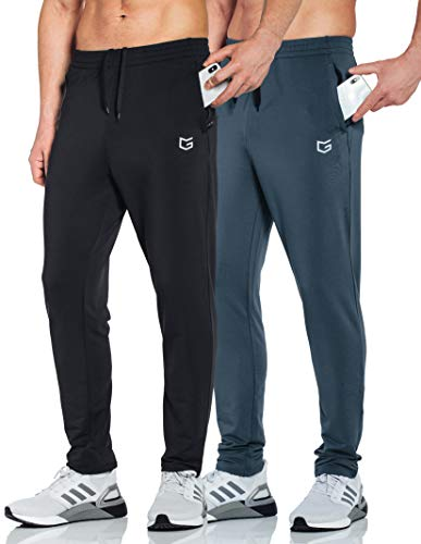 G Gradual Men's Sweatpants with Zipper Pockets Tapered Track Athletic Pants for Men Running, Exercise, Workout (2 Pack: Black/Grey, Medium)