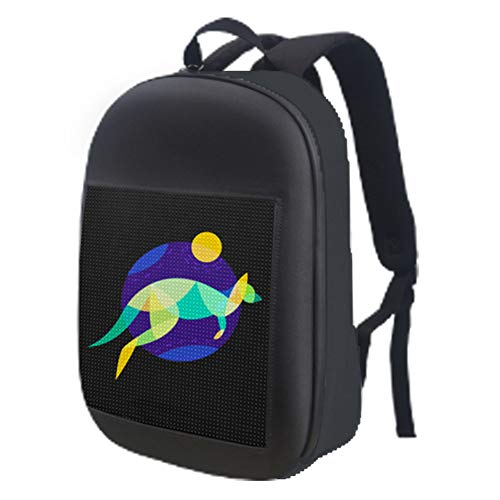WOCTP Smart LED Dynamic Backpack, LED Screen Laptop Animated Backpack Interactive Light Custom Waterproof Editable Wifi Dynamic School Bag black-One size